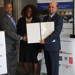 Receiving proclamation award from US congress representative in 2019, New York at